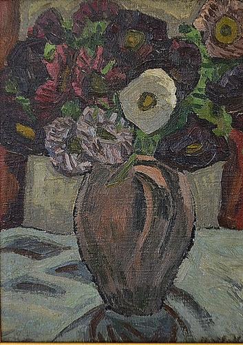 VARGA VASILE ( 1921-2005 ) Vas cu flori violet / Vase with purple flores