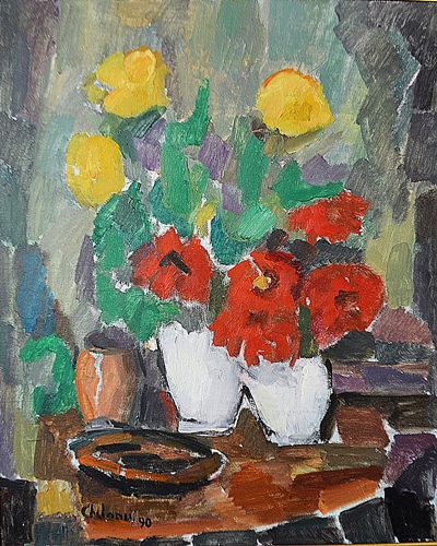 UȚĂ CHELARU ELENA ( 1930-2013 ) Fleures en vases blancs