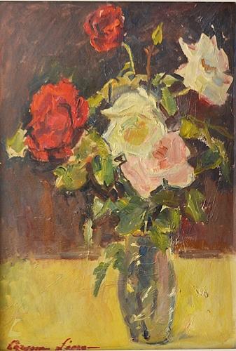 LECCA CORINA ( 1908-1990 ) Vas cu flori / Vase with flowers