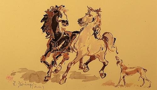RADU DĂRÂNGĂ (n. 1944 )  (n. 1944 ) Cai - studiu / Horses - study