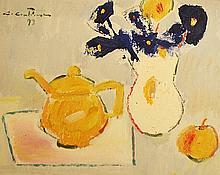Augustin Costinescu (1943- ) Natură statică cu flori albastre și ceainic galben/Still life with blue flowers and yellow teapot