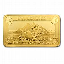 10 oz Golden Lion Mint Gold Bar .9999 Fine