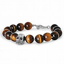 Silver Bracelet W/Tiger Eye,,8.5 inches,925 Silver, Tiger Eye