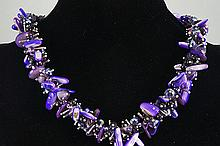 Amethyst, Shell & Crystal Bead Necklace 136.60 grams