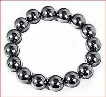 Shell Pearl Stretch Bracelet - Dark Silver Gray (12 mm)