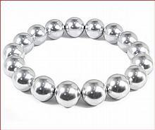 Shell Pearl Stretch Bracelet - Light Silver Gray (12 mm)
