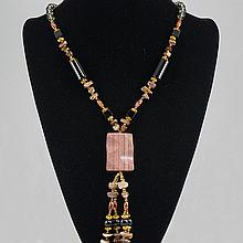Fashion Jewelry Multi Colored Glass Bead Necklace 103.50 grams