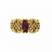 14KT YELLOW GOLD OVAL SHAPE RUBY RING (2.56CTS TW)