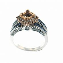 14KT ROSE AND WHITE GOLD EMERALD CUT SAPPHIRE AND DIAMOND ANTIQUE STYLE ENGAGEMENT RING WITH MILGRAIN (1.42CT TW)