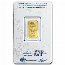 2.5 gram Pamp Suisse Gold Bar .9999 Fine (In Assay)