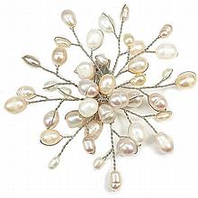 Fresh Water Pearl Brooch Pin - White, Light Pink and Cream Color