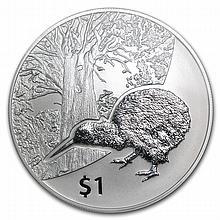 2013 1 oz Silver New Zealand Treasures $1 Kiwi Coin Display Card