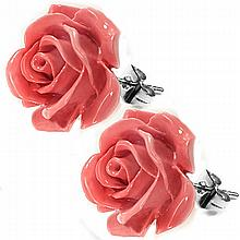 Coral Rose Studs - Coral