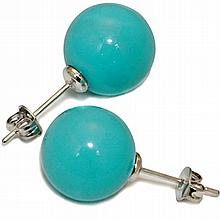 Mother of Pearl Studs - 10mm Turquoise