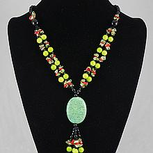 Turquoise Coral & Crystal & Green Agate  Necklace 84.0 grams