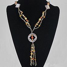 Fashion Jewelry Agate Multi Glass Bead Necklace 56.20 grams