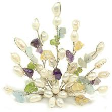 Fresh Water Pearl Brooch Pin with Gemstone Chips