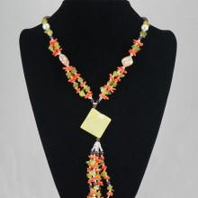 Fashion Jewelry Agate Multi Glass Bead Necklace 63.20 grams