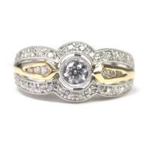 14KT TWO-TONE THREE ROW DIAMOND RING (0.50CTS TW)