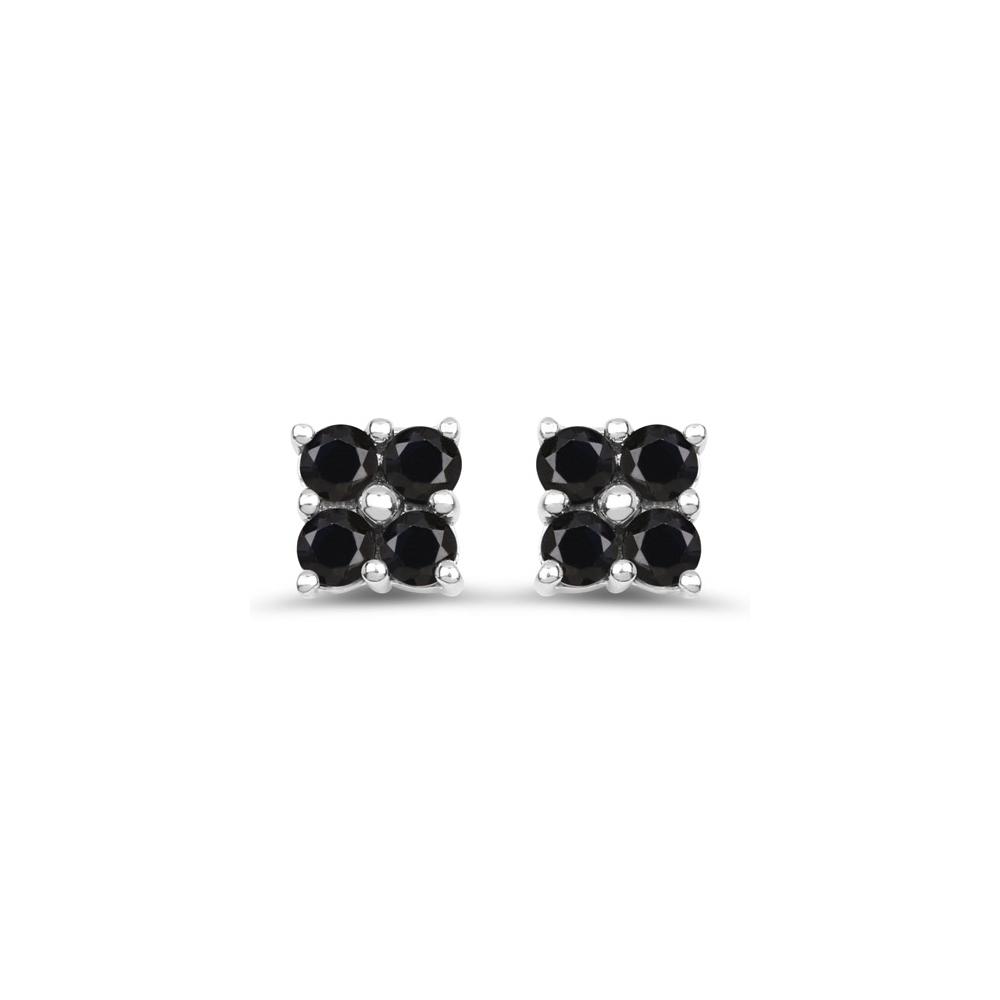 1.04 CTW Genuine Black Sapphire .925 Sterling Silver Earrings