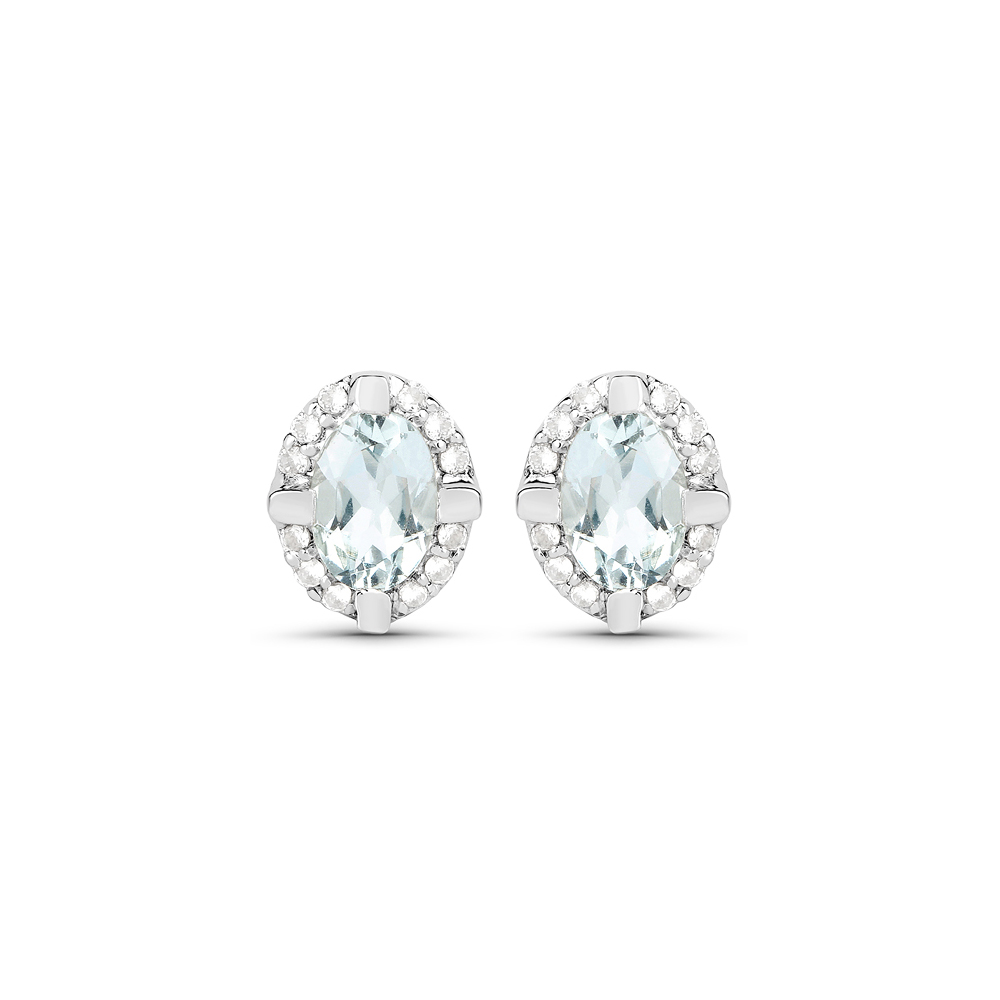 0.94 CTW Genuine Aquamarine & White Zircon .925 Sterling Silver Earrings