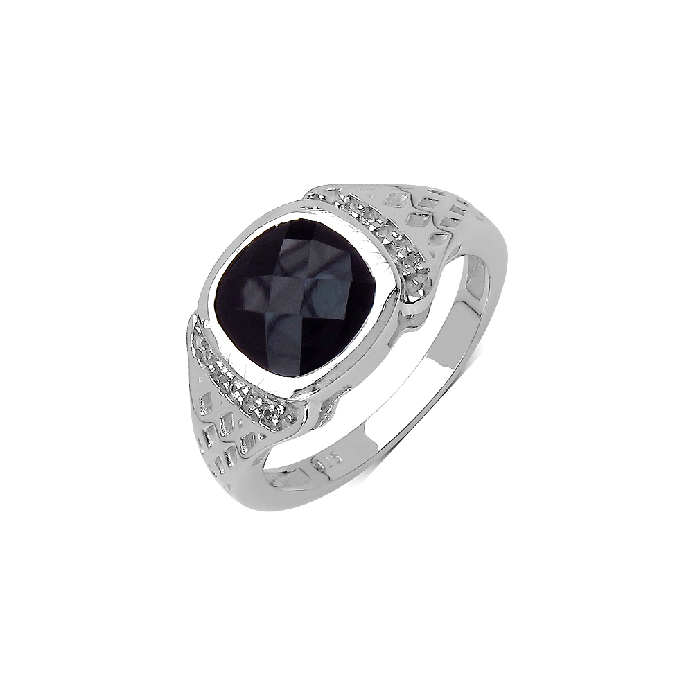 3.15 CTW Genuine Black Spinel & White Topaz .925 Streling Silver Ring