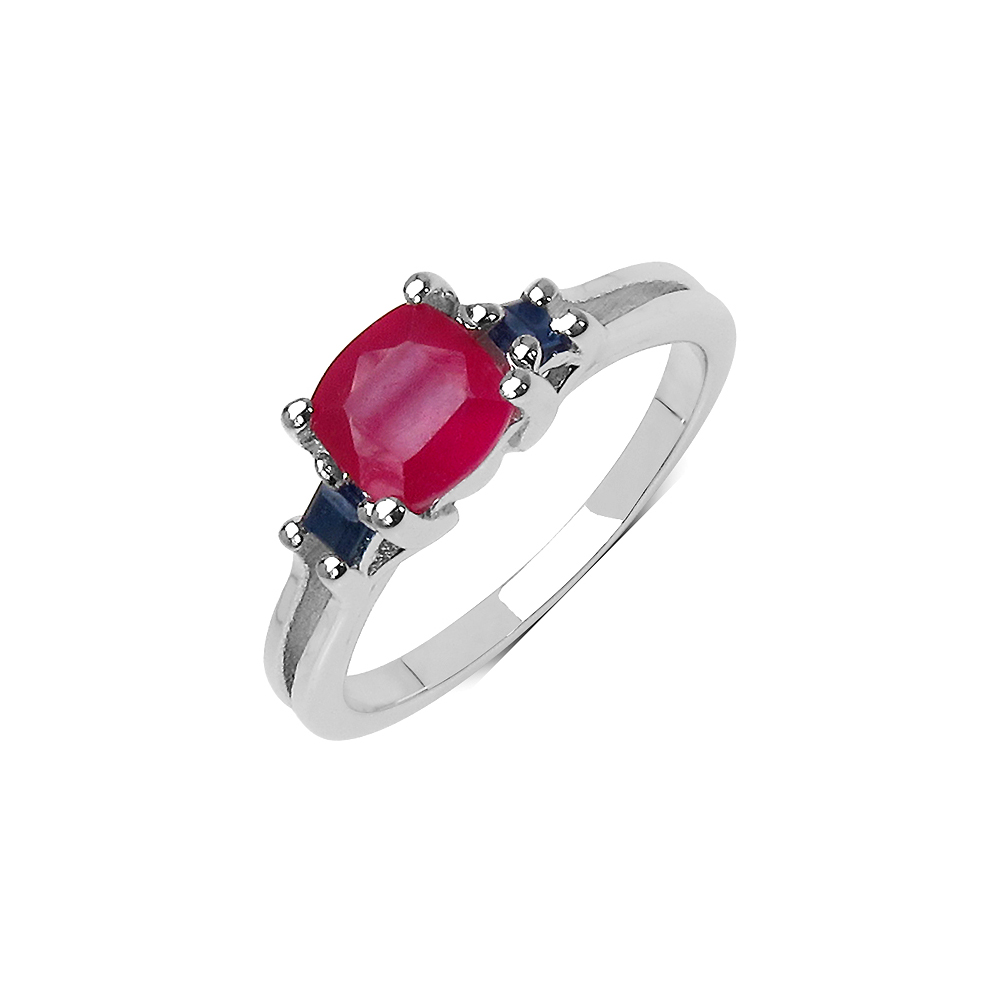 1.77 CTW Genuine Ruby & Sapphire .925 Streling Silver Ring