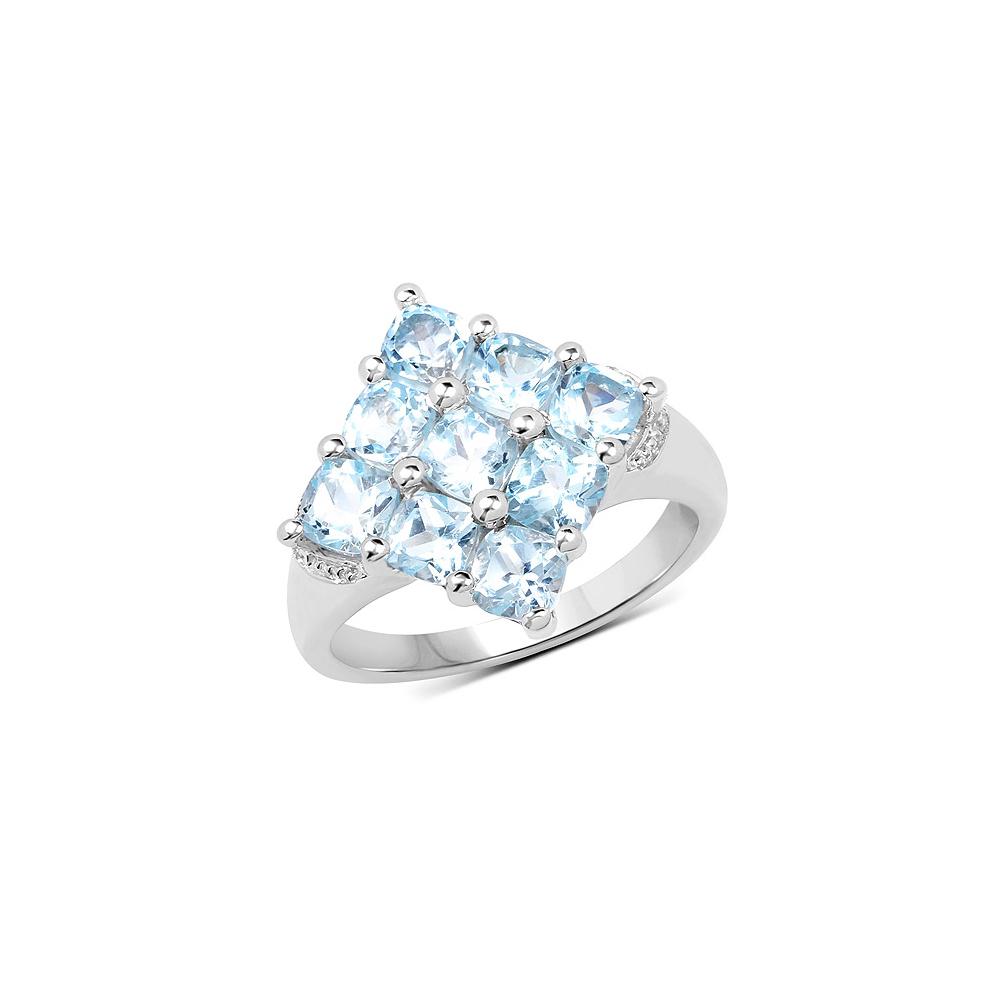 3.24 CTW Genuine  Blue Topaz .925 Sterling Silver Ring