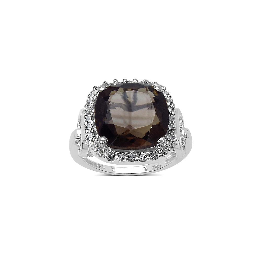 6.70 CTW Smoky Quartz & White Topaz Ring in Sterling Silver