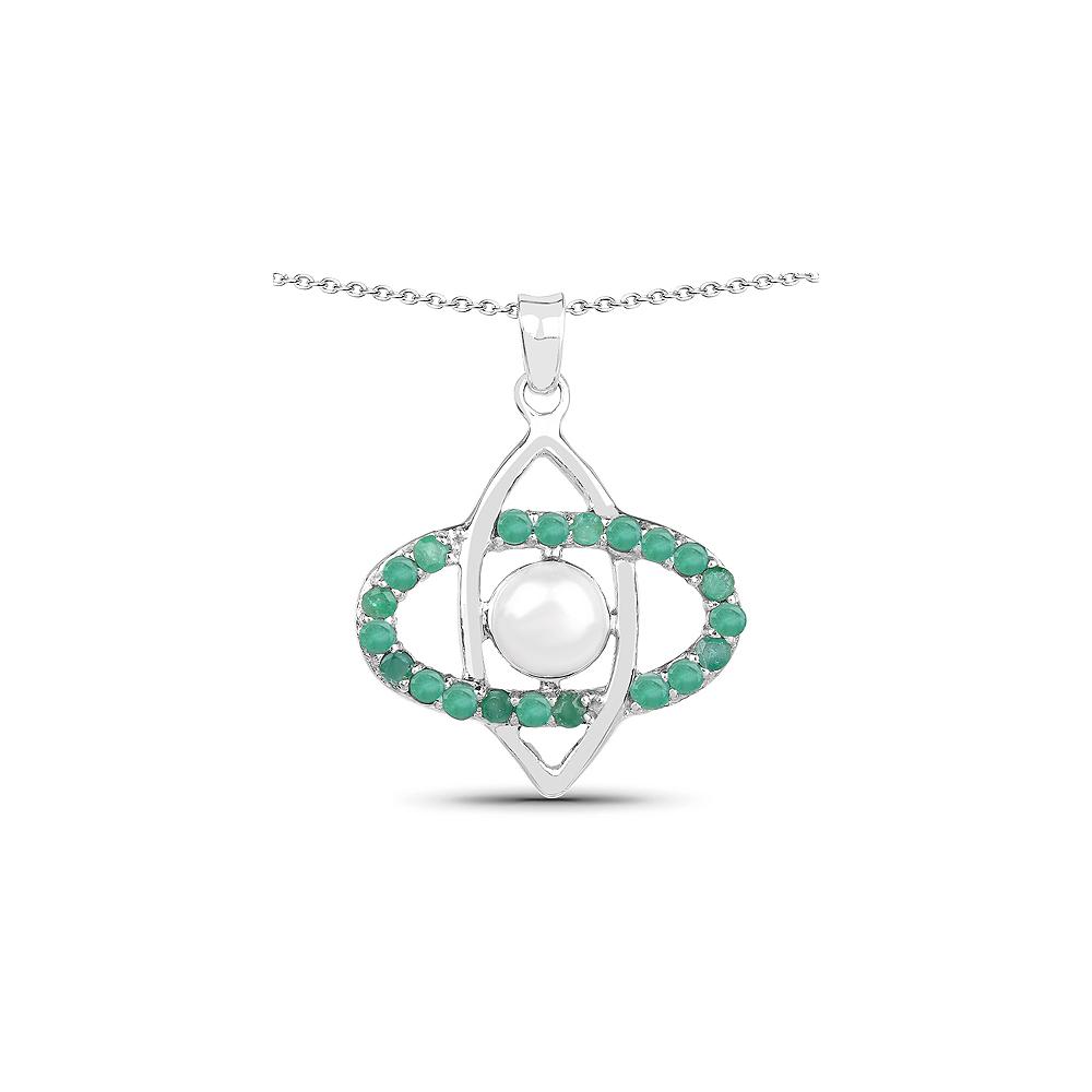 2.58 CTW Genuine Pearl & Emerald .925 Sterling Silver Pendant