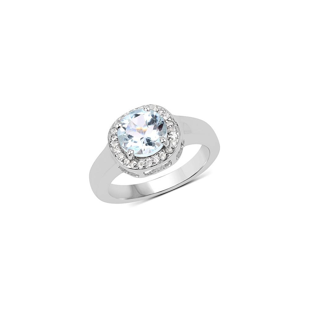 2.37 CTW Genuine Blue Topaz & White Topaz .925 Sterling Silver Ring