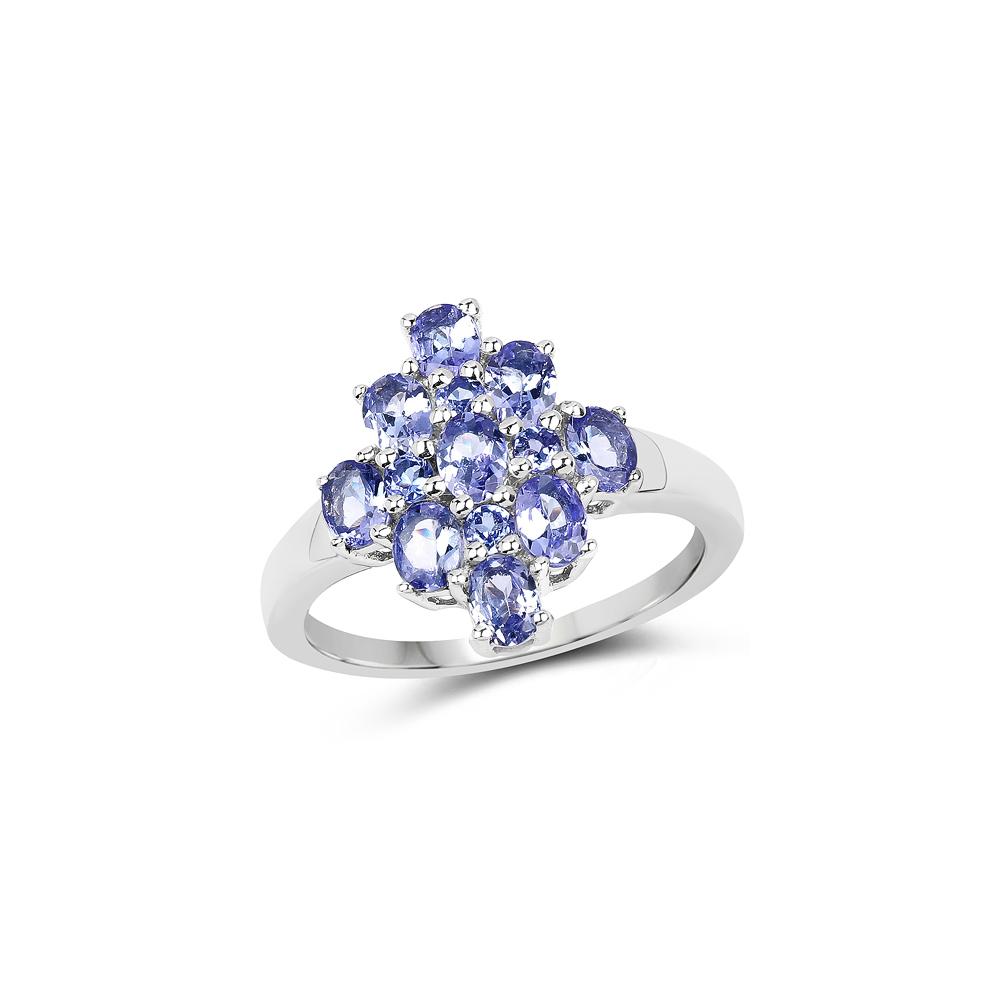 1.67 CTW Genuine Tanzanite .925 Sterling Silver Ring