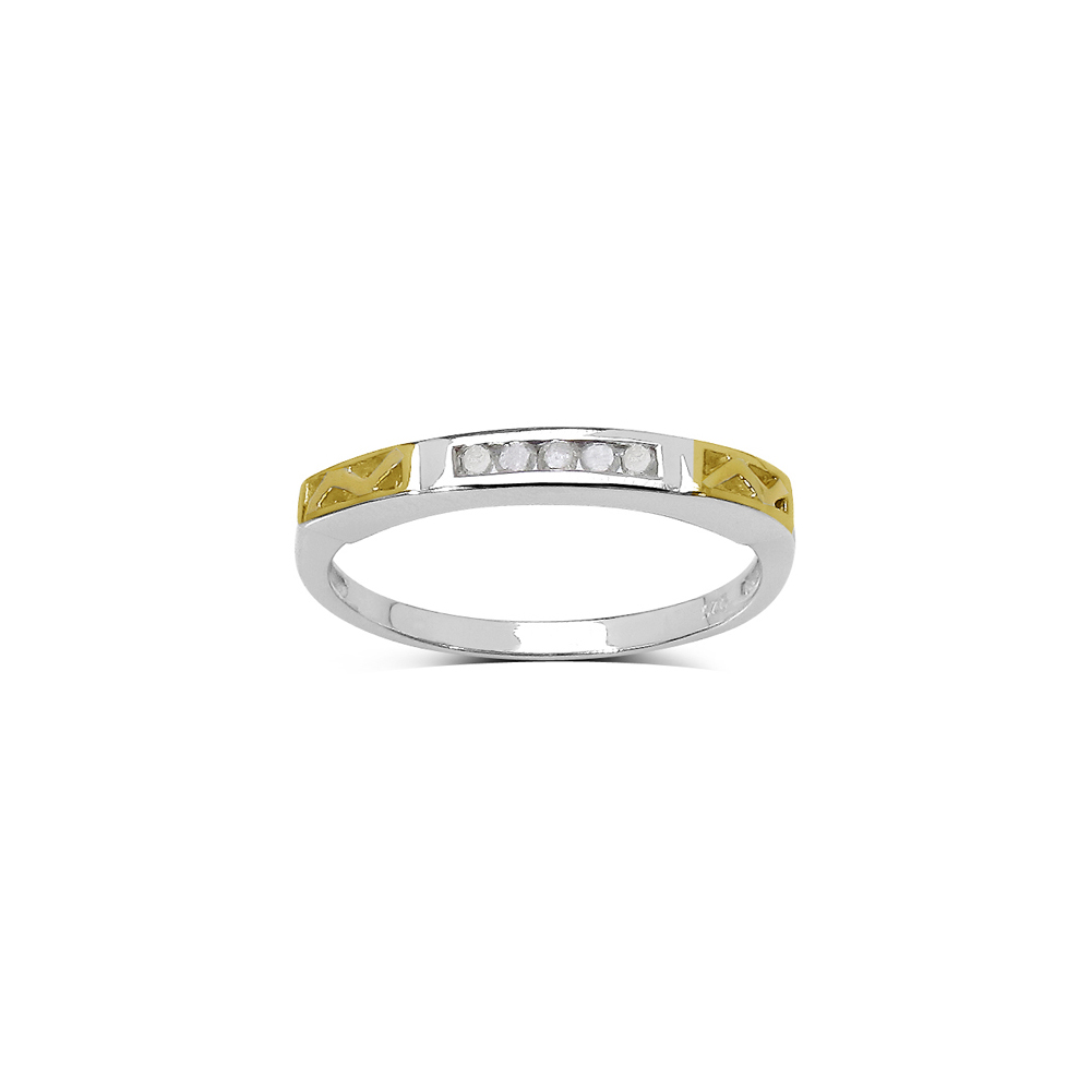 0.08 CTW Genuine White Diamond .925 Sterling Silver Ring