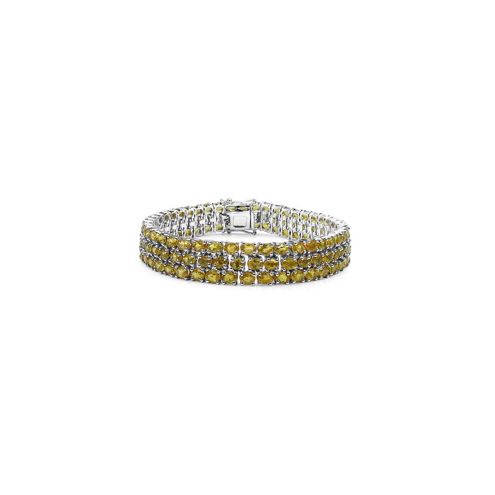 32.75 CTW Genuine Yellow Sapphire .925 Sterling Silver Bracelet