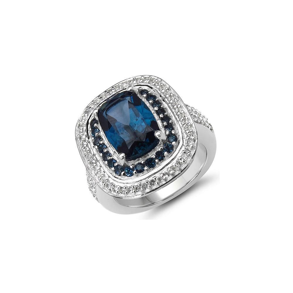 5.25 CTW Genuine London Blue Topaz & White Topaz .925 Sterling Silver Ring