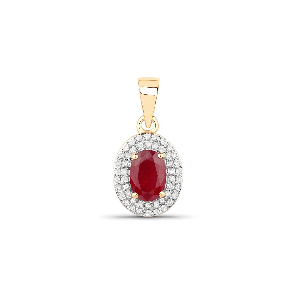 1.08 CTW Genuine Ruby & White Diamond 14K Yellow Gold Pendant