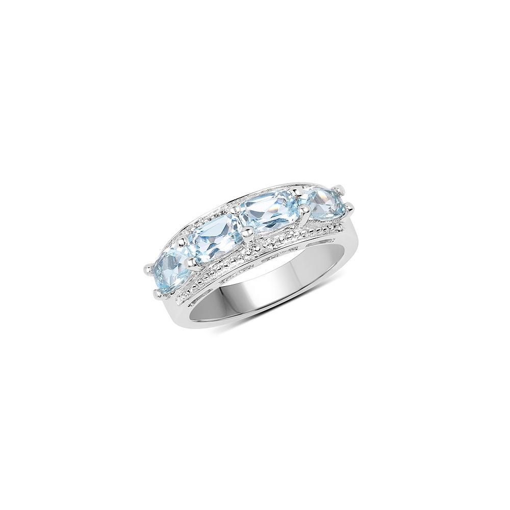 2.40 CTW Genuine Blue Topaz .925 Sterling Silver Ring