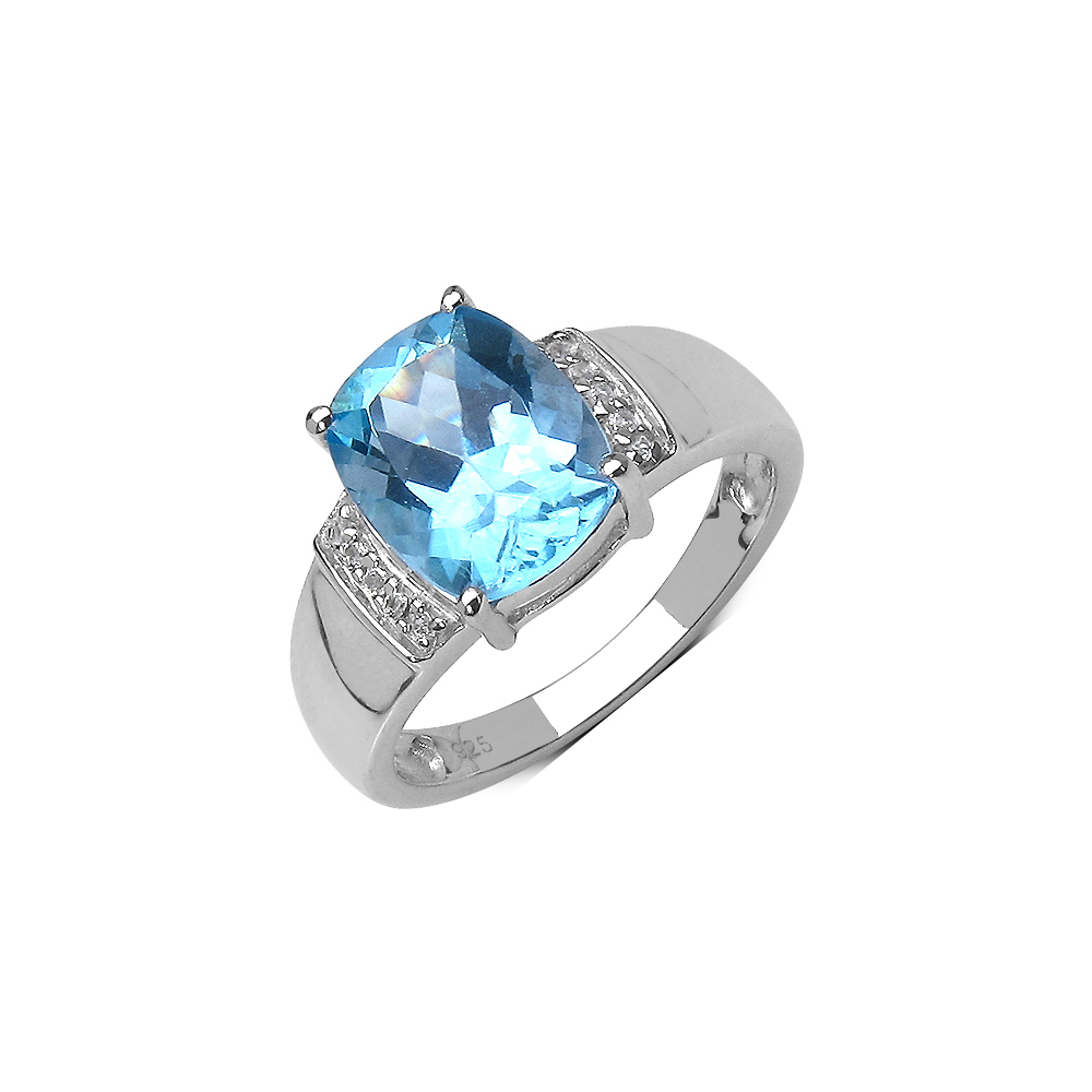3.50 CTW Blue Topaz & White Topaz Ring in Sterling Silver