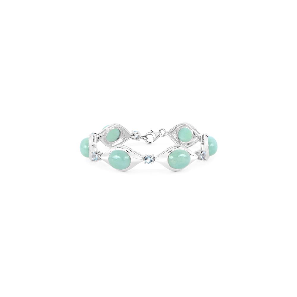 39.72 CTW Genuine Aquamarine .925 Sterling Silver Bracelet