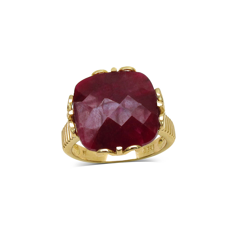 19.20 CTW Genuine Treated Ruby Sterling Silver Ring