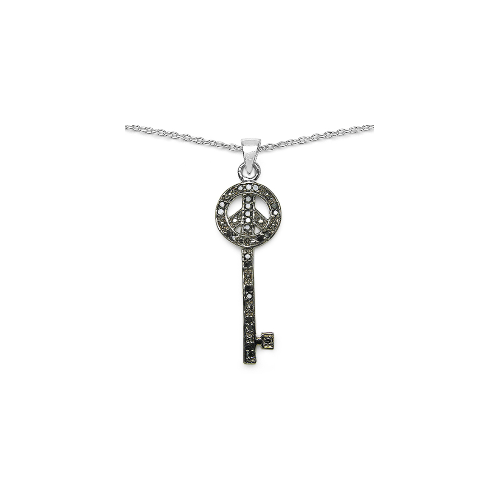 0.26 CTW Genuine Black Diamond .925 Sterling Silver Pendant