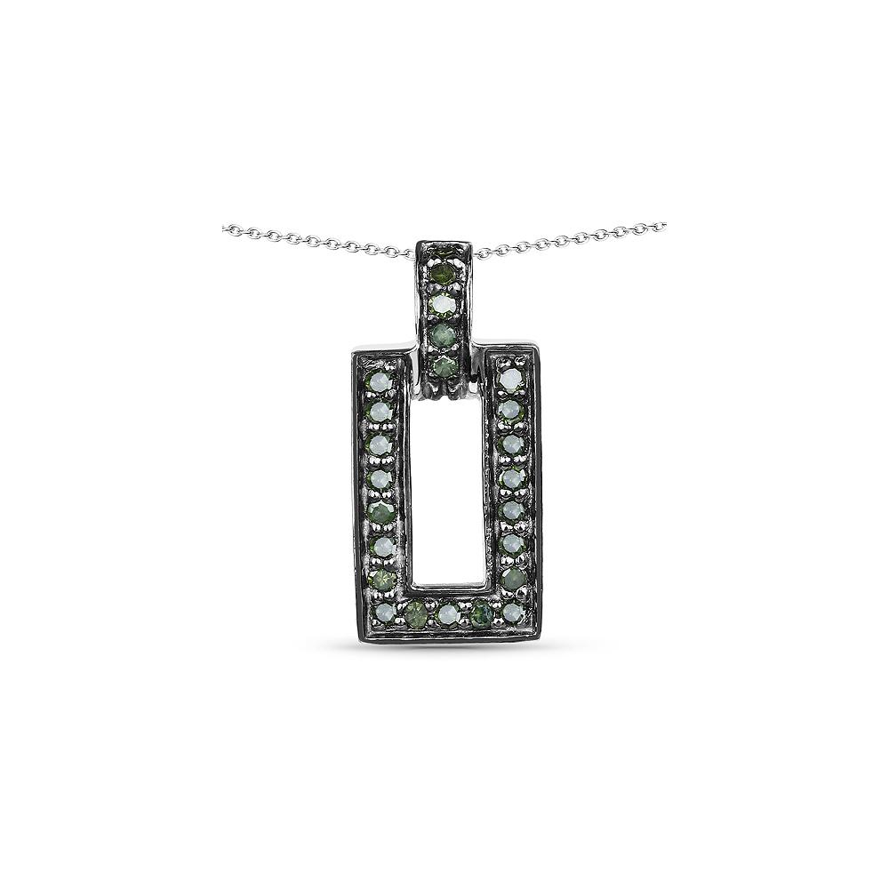 0.36 CTW Genuine Green Diamond .925 Sterling Silver Pendant