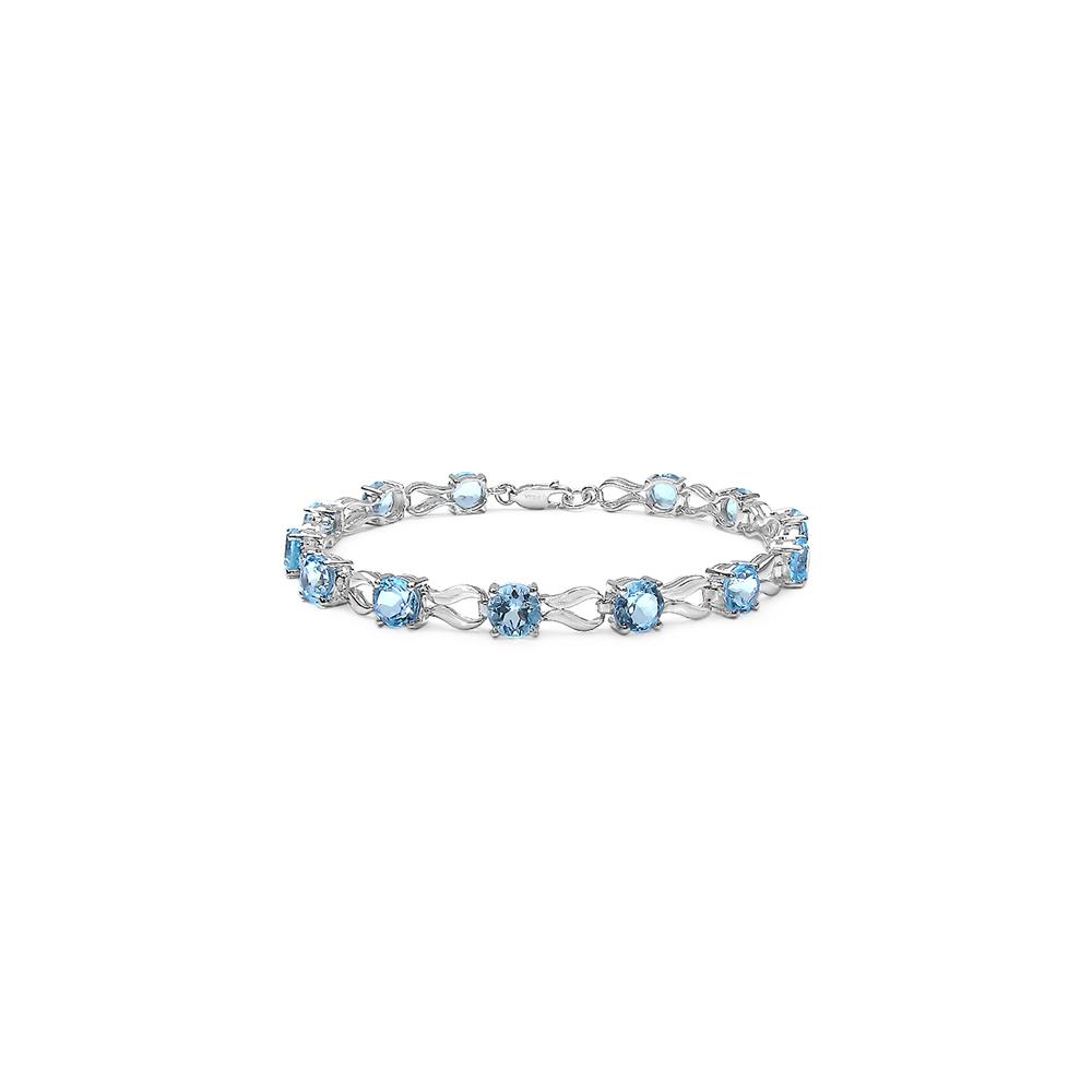 14.30 CTW Genuine Blue Topaz .925 Streling Silver Bracelet