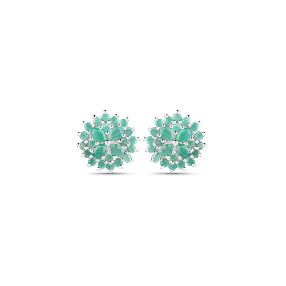 2.32 CTW Genuine Emerald .925 Sterling Silver Earrings