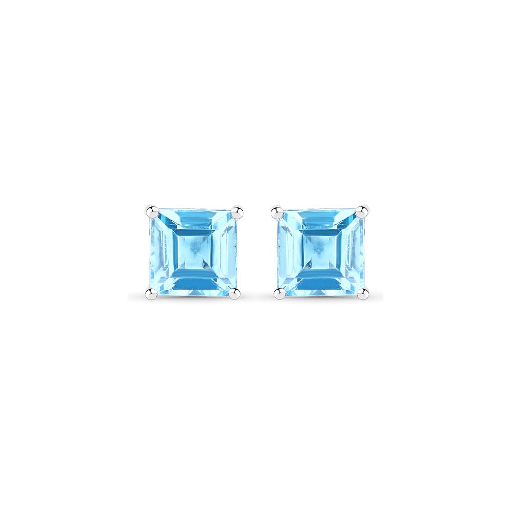 4.00 CTW Genuine Swiss Blue Topaz .925 Sterling Silver Earrings