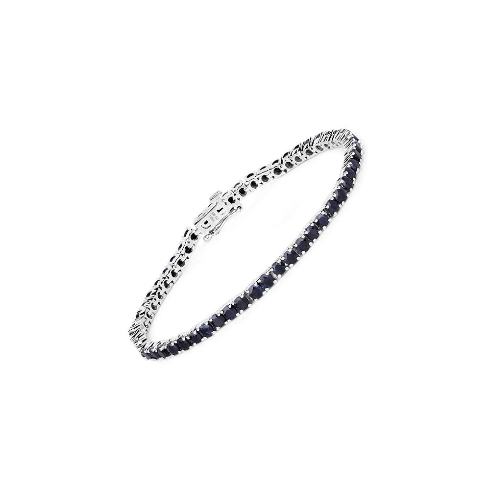 6.89 CTW Genuine Black Sapphire .925 Sterling Silver Bracelet