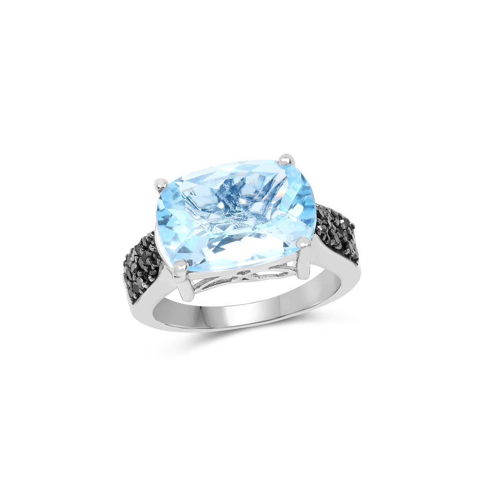 3.96 CTW Genuine Baby Swiss Blue Topaz & Black Diamond .925 Sterling Silver Ring