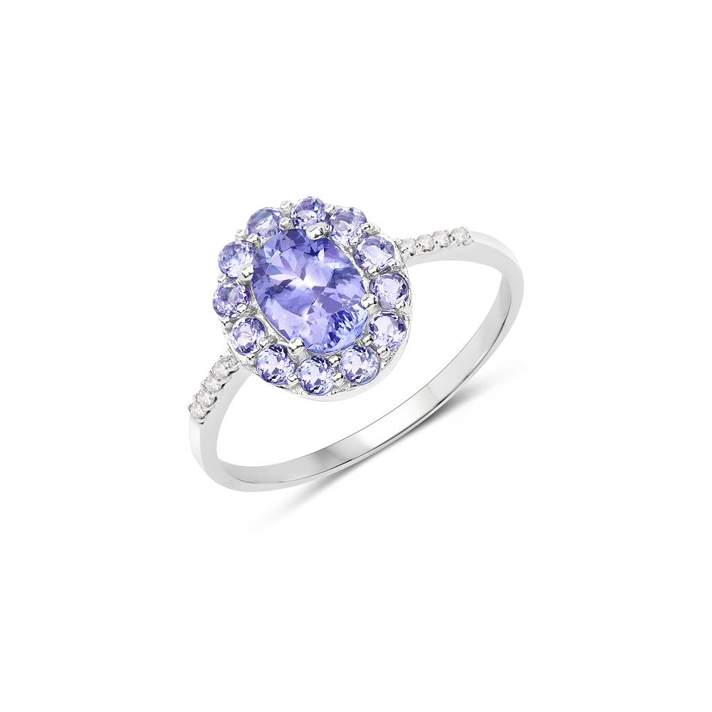 1.20 CTW Genuine Tanzanite & White Diamond 10K White Gold Ring