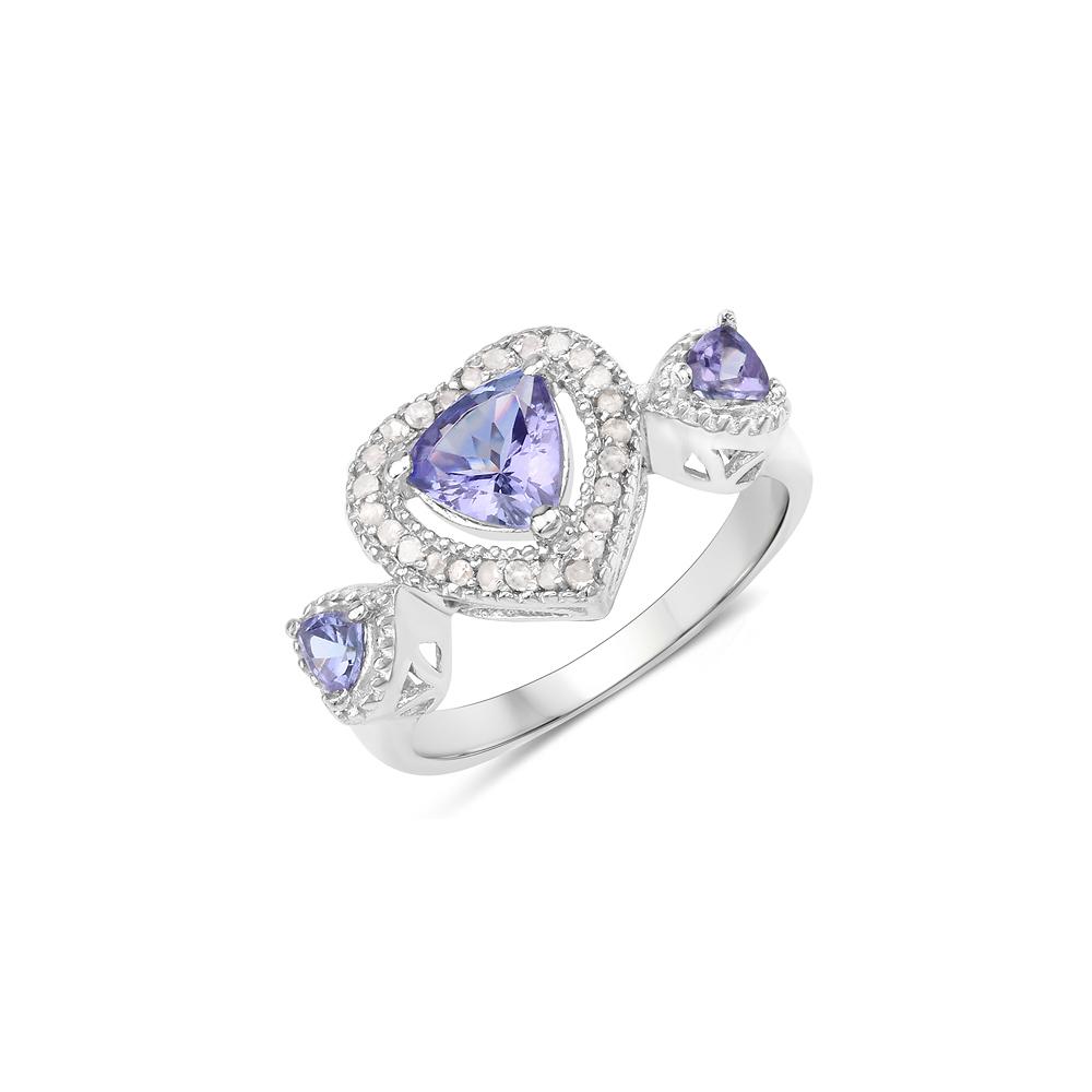 1.09 CTW Genuine Tanzanite & White Diamond .925 Sterling Silver Ring