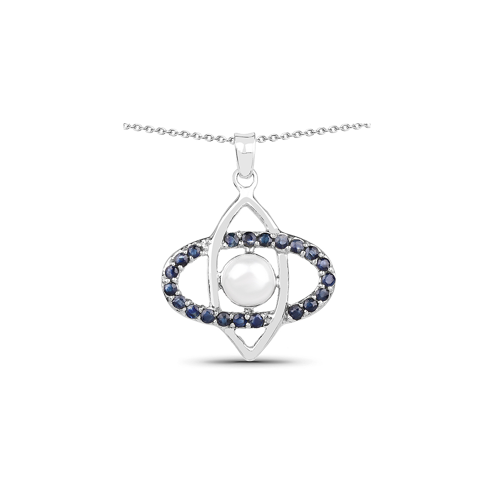 2.90 CTW Genuine Pearl & Blue Sapphire .925 Sterling Silver Pendant